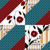 Patchwork seamless poppy pattern ornament background Royalty Free Stock Images