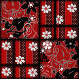 Patchwork seamless red pattern texture background Stock Photos