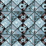 Patchwork seamless retro blue floral pattern Stock Image