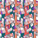 Patchwork seamless retro bright pattern modern background Royalty Free Stock Images