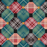 Patchwork seamless retro checkered pattern Stock Photo