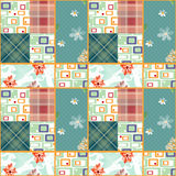 Patchwork seamless retro checkered pattern background Stock Photography