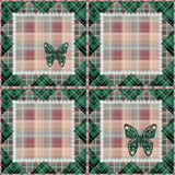 Patchwork seamless retro checkered plaid pattern background Royalty Free Stock Photos
