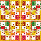Patchwork seamless retro checkered stars elements pattern backgr Stock Photos