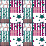 Patchwork seamless retro checkered stars pattern background. Patchwork seamless bright retro checkered stars pattern background Stock Photography