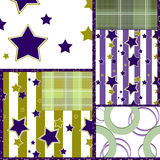 Patchwork seamless retro checkered stars pattern background Royalty Free Stock Photos