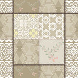 Patchwork seamless retro colors lace pattern texture background Stock Photos