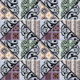 Patchwork seamless retro floral ornamental pattern Royalty Free Stock Photos