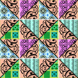 Patchwork seamless retro floral ornamental pattern Stock Images
