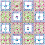 Patchwork seamless retro floral purple green pattern Stock Images