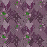 Patchwork seamless retro floral purple pattern Stock Photo