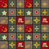 Patchwork seamless retro geometric ornamental pattern background Royalty Free Stock Image