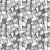 Patchwork seamless retro monochrome pattern modern background Stock Photo