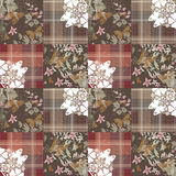 Patchwork seamless retro pattern with buterflies checkered Royalty Free Stock Photography
