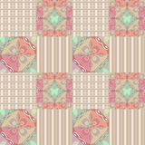 Patchwork seamless retro pattern with buterflies checkered Stock Image
