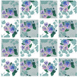 Patchwork seamless retro pattern with flowers Royalty Free Stock Photo
