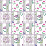 Patchwork seamless retro pattern with flowers on striped Stock Photography