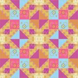 Patchwork seamless retro pattern texture background Stock Photos