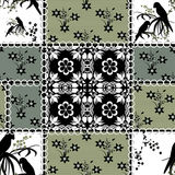 Patchwork seamless retro pattern texture background with parrots Royalty Free Stock Photos