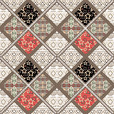 Patchwork seamless retro stars geometric pattern background Royalty Free Stock Image
