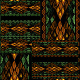 Patchwork seamless snake skin pattern background Royalty Free Stock Images