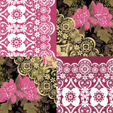Patchwork seamless white lace retro pink flowers pattern Royalty Free Stock Photo