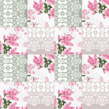 Patchwork seamless white lace retro pink roses pattern Stock Image
