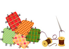 Patchwork, sewing with a needle Stock Photo
