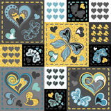 Patchwork som är färgrik med hjärtor och fjärilen seamless modell Guld- blänka beståndsdelar Scrapbooking serie Royaltyfria Foton