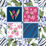 Patchwork spring seamless floral pattern background Royalty Free Stock Photo
