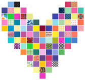 Patchwork Squares Heart Pattern Stock Photography