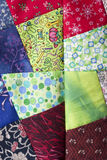 Patchwork squares for quilt. Patchwork quilt, large squares or blocks, quilt in progress Stock Photos