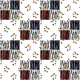 Patchwork squares seamless pattern cherry texture background Royalty Free Stock Photos