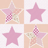Patchwork Stars Girl. 32x32 cm pattern. Excelent rapport. Cute design Stock Photo