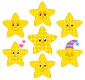 Patchwork stars. Set of patchwork stars. Cartoon illustration Stock Photo