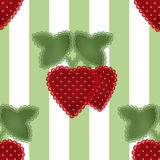 Patchwork strawberry seamless patern striped background Royalty Free Stock Photography