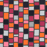 Patchwork style tribal bricks seamless texture, red, gray and orange colors.  Stock Photo