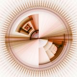 Patchwork Sun against White. Layered earth tones in a streaking circular pattern (computer generated, fractal abstract background Stock Photography