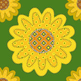 Patchwork sunflowers ornament Stock Photo