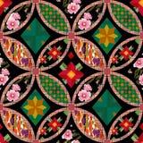 Patchwork tekstury bezszwowy kwiecisty deseniowy tło dekoracyjny Fotografia Royalty Free