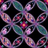 Patchwork tekstury bezszwowy kwiecisty deseniowy tło dekoracyjny Obraz Royalty Free