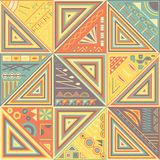 Patchwork tile in retro colors. Geometric design stock illustration