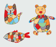 Patchwork toys - cat, fish, bear Stock Images
