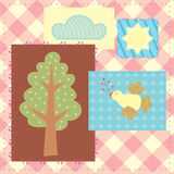 Patchwork with tree, bird, cloud and sun Royalty Free Stock Photography