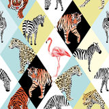 Patchwork tropical animals and bird multicolor background. Exotic beach trendy seamless pattern, patchwork illustrated tropical animals vector. Jungle zebra Stock Images