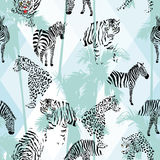 Patchwork tropical black color animals seamless background. Exotic beach trendy seamless pattern, patchwork illustrated tropical animals vector. Jungle zebra stock illustration