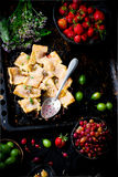 Patchwork truskawka i agresta kulebiak Ciemna fotografia Zdjęcia Stock