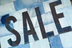 Patchwork tworzy sprzedaż znaka cajg tkanina Obrazy Royalty Free