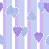Patchwork vertical stripes geometrical hearts pattern texture Stock Images