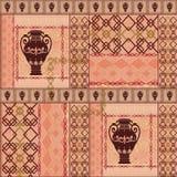 Patchwork vintage ethnic seamless pattern dark on beige background. Royalty Free Stock Image